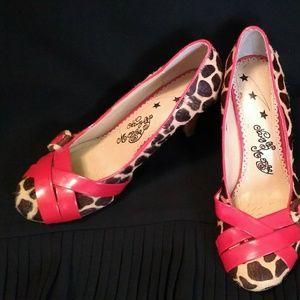 Sz 9 Naughty Monkey Calf Hair Leopard Print Heels